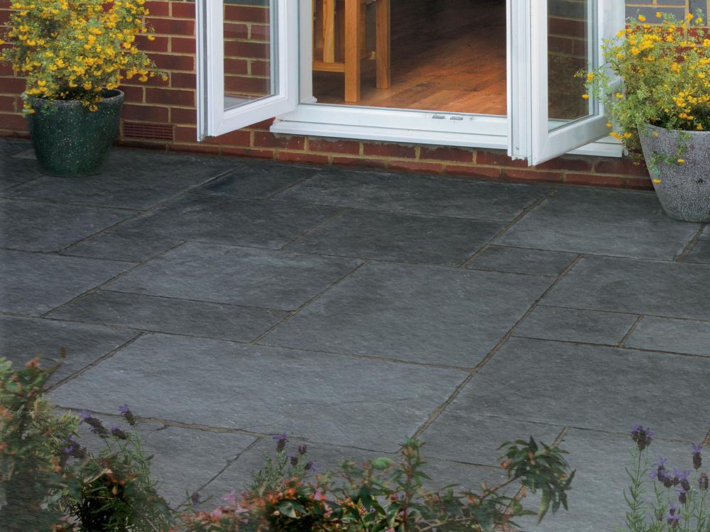 Natural Stone Paving : Black limestone paving slabs mm