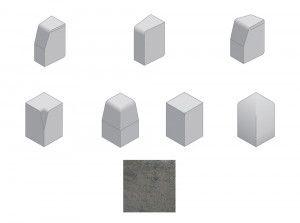 Bradstone - Large Block Kerbs Accessories - Charcoal - Internal, External, Radius, Angle