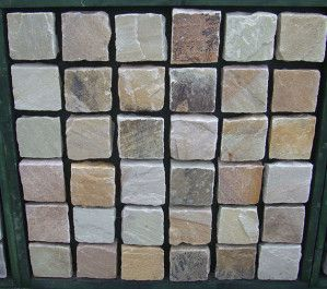 Indian Sandstone Cobbles (Setts) - Mint Fossil - 100 x 100mm