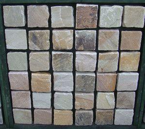 Indian Sandstone Cobbles (Setts) - Mint Fossil - 100 x 100mm
