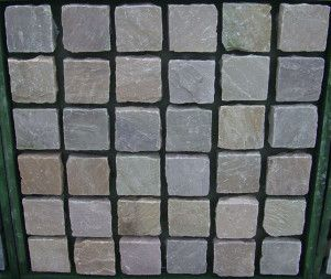 Indian Sandstone Cobbles (Setts) - Rippon Buff - 100 x 100mm