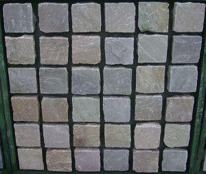 Indian Sandstone Cobbles (Setts) - Rippon Buff - 100 x 100mm
