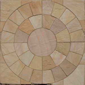 Indian Sandstone Paving - Lalitpur Yellow - Circles