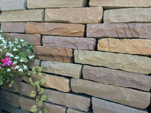 Indian Sandstone Walling - Hand Cut - Lalitpur Yellow Blocks