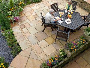 Marshalls - Fairstone Riven Harena Garden Paving - Sawn Edge - Golden Sand Multi - Single Sizes