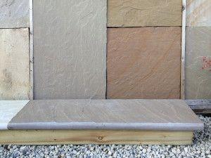 Indian Sandstone - Bullnosed Steps & Corners - Riven - Raj Green