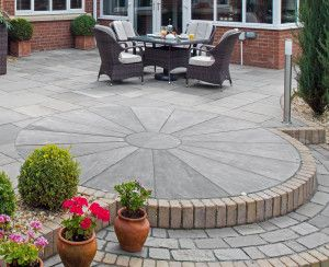 Marshalls Riven Harena Circle Paving - Silver Birch - Patio