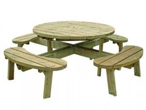 Round 8 Seat Picnic Bench Garden Table - Without Seat Backs