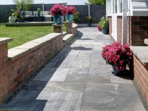 Indian Sandstone Paving - Sagar Black Charcoal (Yorkstone Look) - Patio Pack