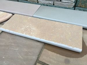 Indian Limestone - Bullnosed Steps - Riven - Sandur Yellow - 1000 x 350mm
