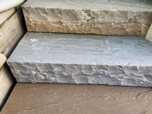 Indian Sandstone Thick Block Steps - Kandla Grey - 1000 x 350mm