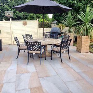 Castacrete - Sawn and Honed - Two Tone Sandstone - Patio Pack (New Pack And Slab Size)