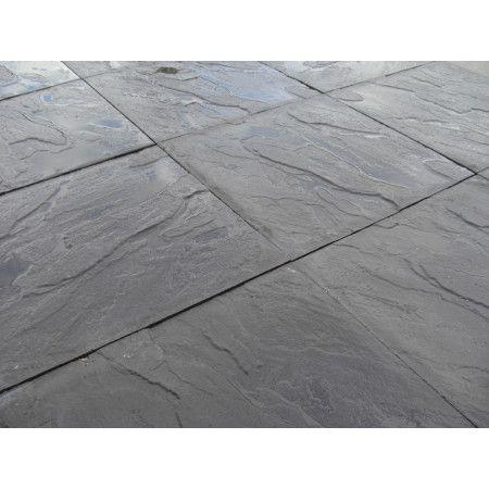 Cheap Paving Slabs - Riven - Black - 600 x 600mm