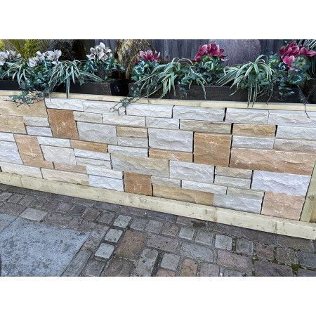 Natural Sandstone Walling - Pitched Faced - Imperial Cream - (Individually)