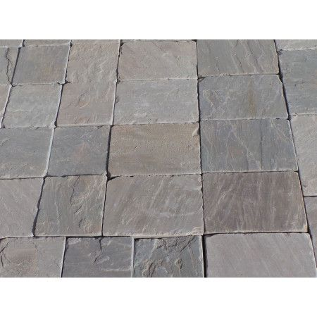 Indian Sandstone Setts - Sawn and Tumbled Kandla Grey - Mixed Project Pack - Calibrated 50mm Block Paving - 1m2