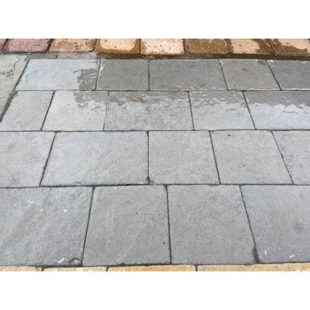 Indian Limestone Setts - Sawn and Tumbled Kota Grey - Mixed Project Pack - Calibrated 50mm Block Paving - 1m2