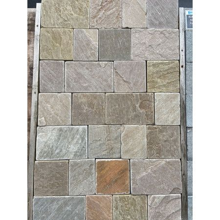 Indian Sandstone Setts - Sawn and Tumbled Raj Green - Mixed Project Pack - Calibrated 50mm Block Paving