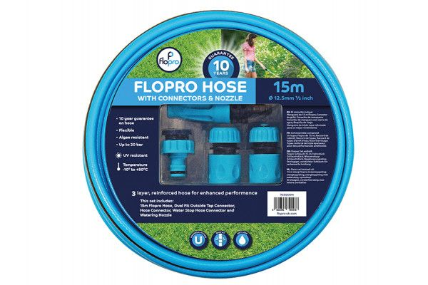 Flopro Flopro Hose 15m with Connectors 12.5mm (1/2in) Diameter