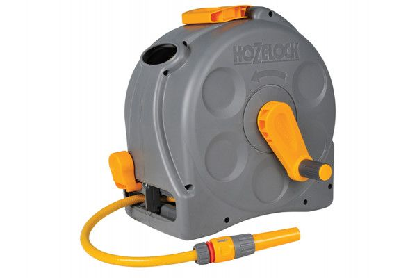 Hozelock 2415 25m 2-in-1 Compact Hose Reel + 25m of Starter Hose
