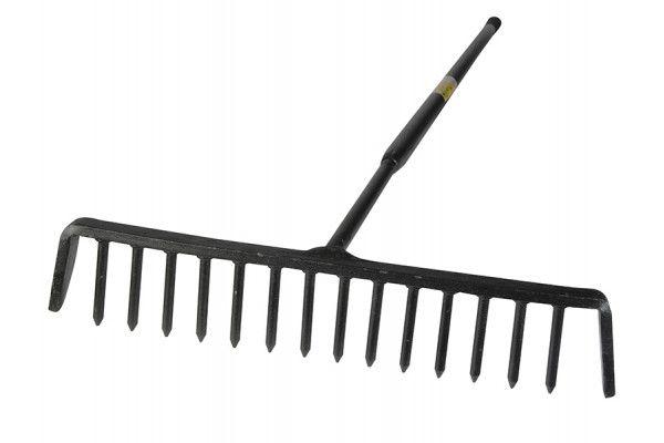 Roughneck Tarmac Rake 16 Round Teeth - Tubular Steel Shaft Handled