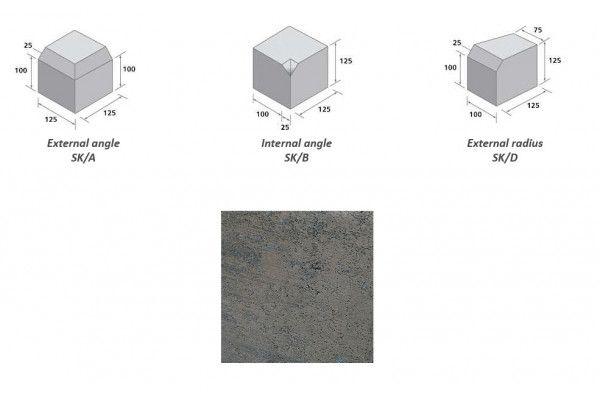 Bradstone - Block Kerb Accessories - Charcoal - Small Kerbs