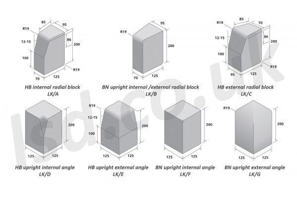 Bradstone large block kerbs accessories charcoal internal external radius angle choice of