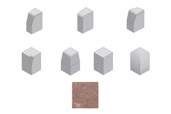 Bradstone - Large Block Kerbs Accessories - Brindle - Internal, External, Radius, Angle