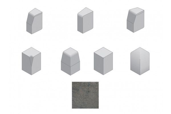 Bradstone - Large Block Kerbs Accessories - Charcoal - Internal, External, Radius, Angle