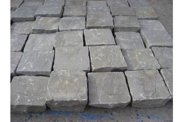 Indian Sandstone Cobbles (Setts) - Kandla Grey - 100 x 100mm - Individual