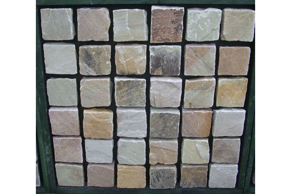 Indian Sandstone Cobbles (Setts) - Mint Fossil - 100 x 100mm - Individual
