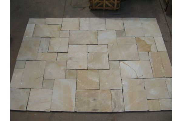 Mint Fossil Patio Pack Indian Sandstone Paving Calibrated Lsd Co Uk