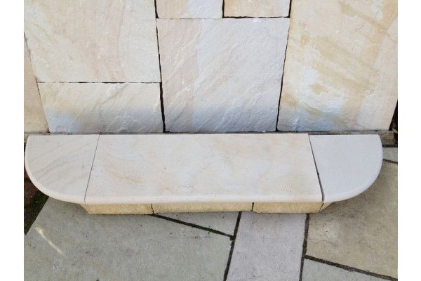 Indian Sandstone Bullnosed Steps and Corners - Polished Mint (Individual Slabs)