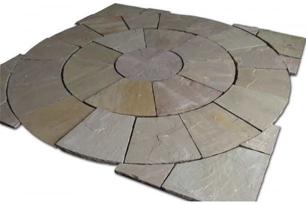 Indian Sandstone Paving - Raj Green - Circles