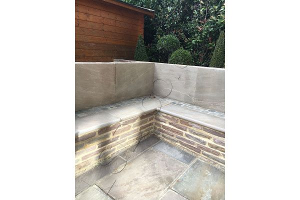 Indian Sandstone Bullnosed Steps & Corners - Riven Raj Green 2