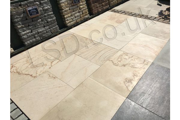 Natural Sandstone Paving - Imperial Cream Smooth - Single Sizes (Individual Slabs)