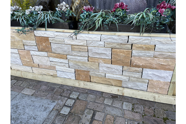 Natural Sandstone Walling - Pitched Faced - Imperial Cream