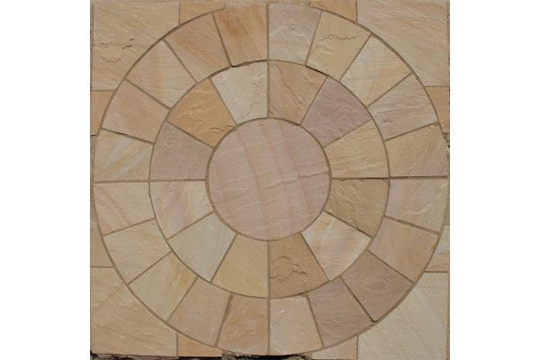 Decorative Garden Stones >> Lalitpur Yellow, Circles, Indian Sandstone Paving | LSD.co.uk