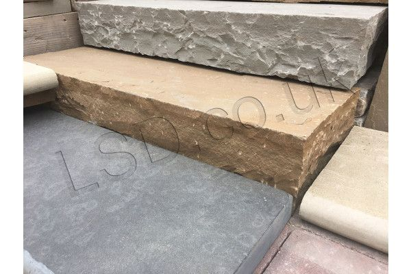 Indian Sandstone Thick Block Steps - Rippon Buff - 1000 x 350mm - Individual