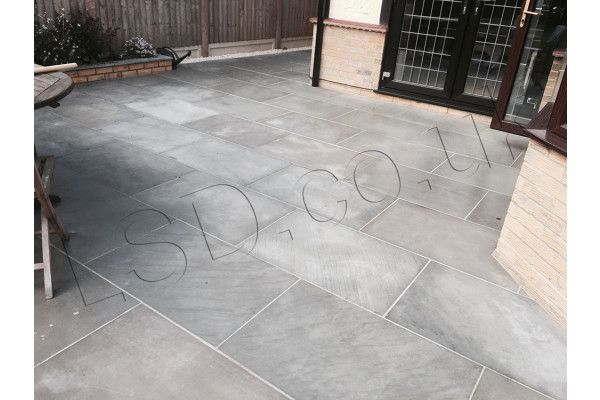 Polished Kandla Grey Patio Pack Indian Sandstone Paving