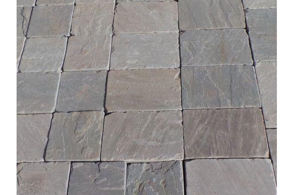 Indian Sandstone Setts - Tumbled Kandla Grey
