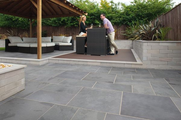 Slate Patio Slabs >> Marshalls Casarta Slate Paving Silver Grey Single Sizes