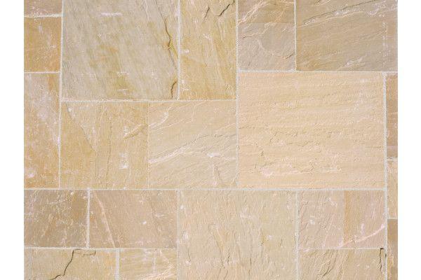 Marshalls - Fairstone Riven Harena Garden Paving - Sawn Edge - Golden Sand Multi - Project Pack