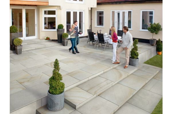 Marshalls - Fairstone Sawn Versuro King Size Garden Paving - Antique Silver Multi - Single Sizes