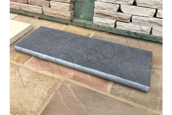 Indian Limestone - Bullnosed Steps - Riven - Kota Black Midnight - 1000 x 350mm
