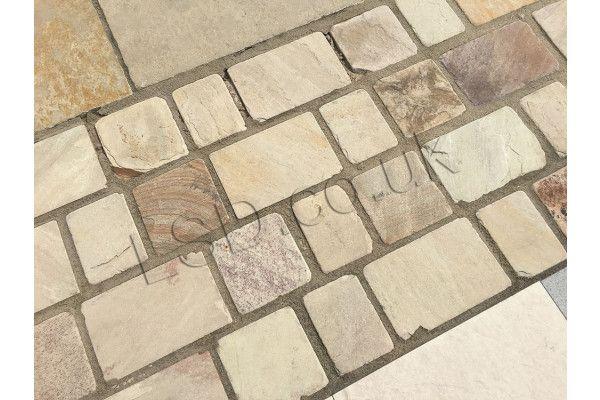 Indian Sandstone Cobbles - Tumbled Mint Fossil - 1m2