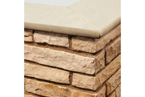 Natural Paving - Bullnose Steps / Copings - Golden Fossil - 600 x 300mm - Individual