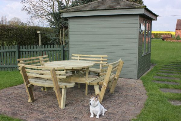 Round 8 Seat Picnic Bench Garden Table - With Seat Backs