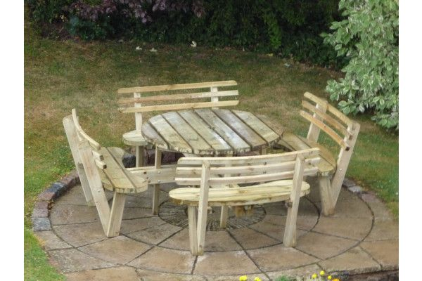 Round 8 Seat Picnic Bench Garden Table With Seat Backs Cheap Garden Furniture At Lsd Co Uk