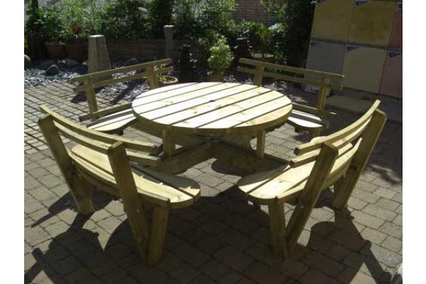 Round 8 Seat Picnic Bench Garden Table With Seat Backs Cheap Garden Furniture At Lsd