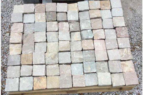 Indian Sandstone Cobbles (Setts) - Raj Green - 100 x 100mm